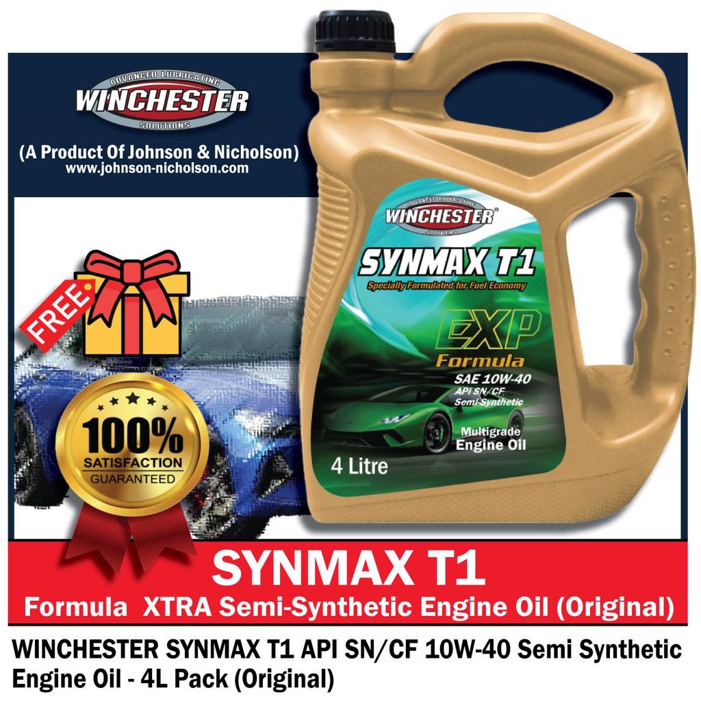Winchester Synmax T1 10w40 4L Semi Synthetic SN Engine Oil Car Lubricant (Proton/Toyota /Nissan/ Perodua)