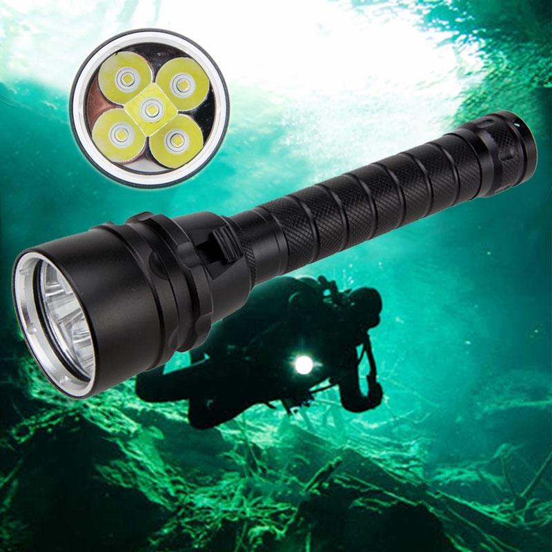 15000Lm 4x XM-L T6 LED Scuba Diving Flashlight Torch 26650 Lamp Underwater 200M