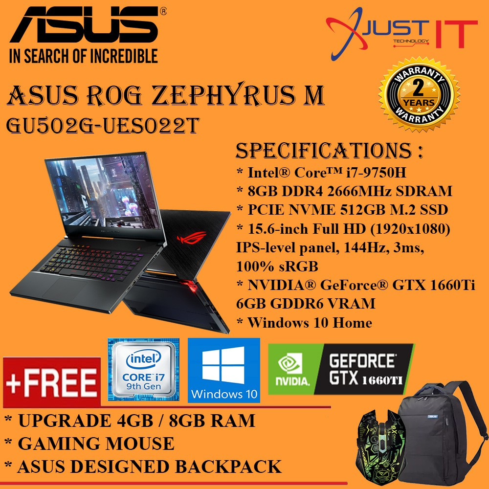 (UPGRADED) ASUS ROG ZEPHYRUS M GU502G-UES022T I7-9750H 12G/16GD4 512SSD  GTX1660TI 6GD6 WIN10H BLACK