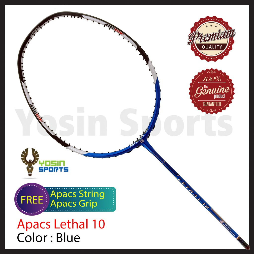 Apacs Lethal 10 Racket Badminton (Blue) + FREE String & Grip