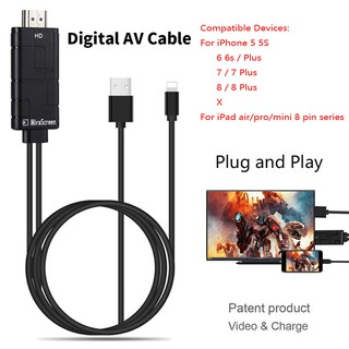iOS 11 Phone to HDMI TV Projector AV Cable Video Adapter