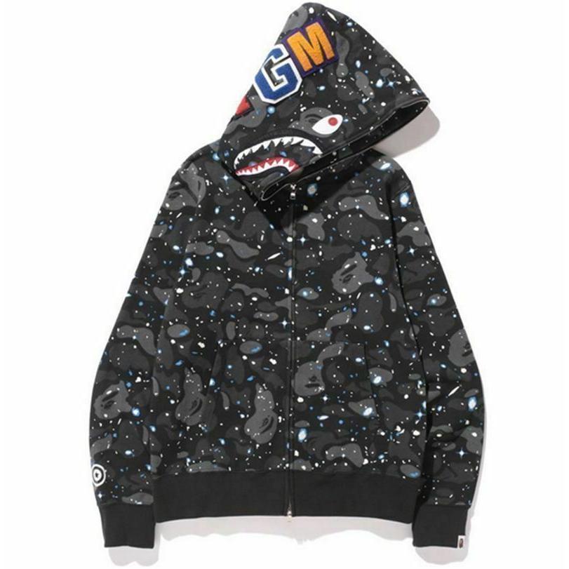 A Bathing Ape Bape Luminous Camo Hoodie Sweatshirts Jacket SHARK Head FULL ZIP