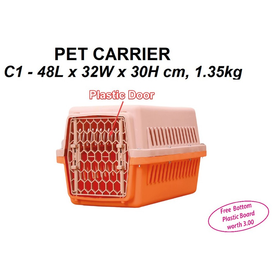 [NEW ARRIVAL] Pet Carrier C1 - 48L X 32W X 30H cm | Cat Dog Carrier | Carrier Kucing Anjing | Free Bottom Plastic Board
