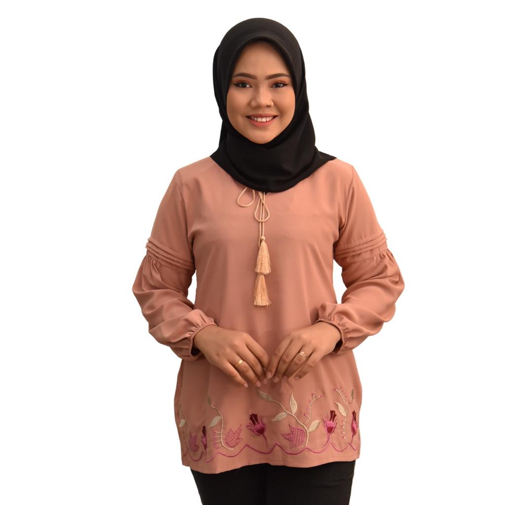 OLIVIA Muslimah Fashion Blouse Design - Premium Valentino Silk  Long Sleeves Plain