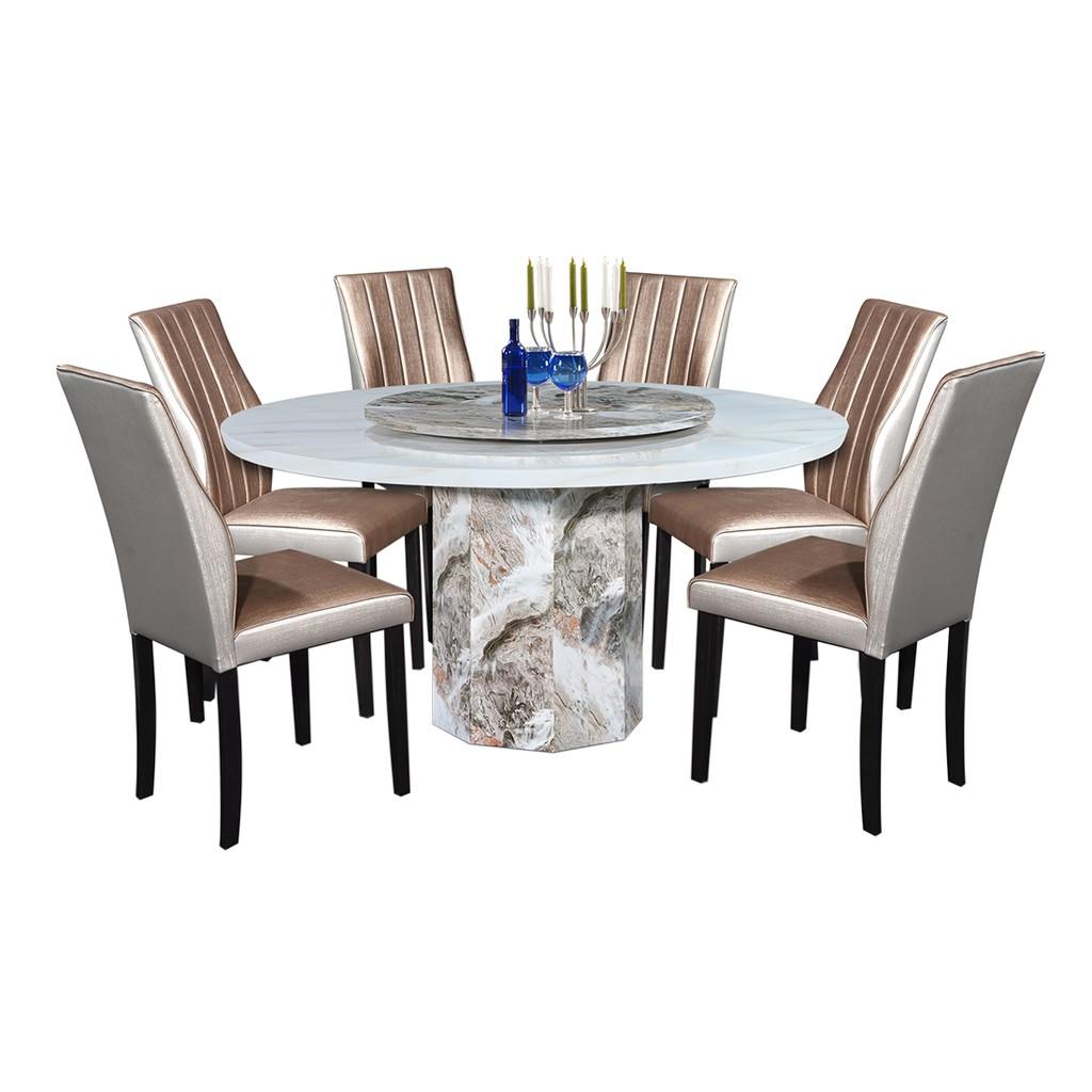 Nl Mtj034a 9401 4 Luxury Design Round Marble Dining Table Set 1 6 Shopee Malaysia