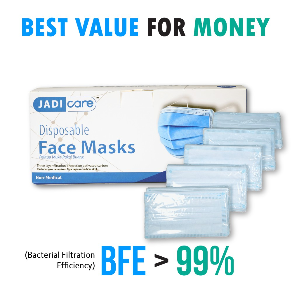 JADI CARE 3-ply Disposable Face Masks - JADI LIFE