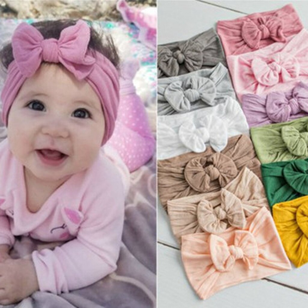 Toddler Baby Girls Head Wrap Top Knot Big Bow Turban Headband Hair Accessories