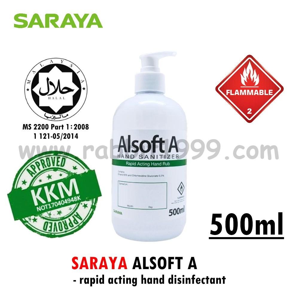 SARAYA ALSOFT A- 500ml- liquid type- hand sanitizer/ hand sanitiser/ 免洗消毒液