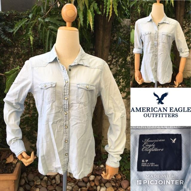 2sis1bro แบรนด์แท้ American Eagle Outfitters เสื้อเชิ้ต เสื้อยีนส์ ฟอกซีด มือสอง พร้อมส่ง