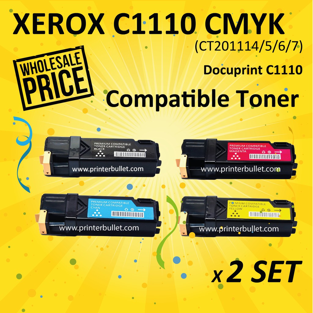 2 set CMYK Fuji Xerox Docuprint C1110 Compatible Colour Laser Toner Cartridge
