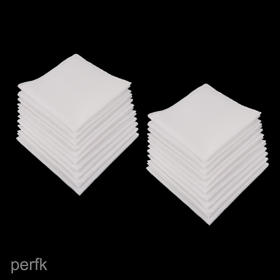 12pcs Pure 100/% Cotton White Handkerchiefs Women Men Hanky Hankies Kerchiefs