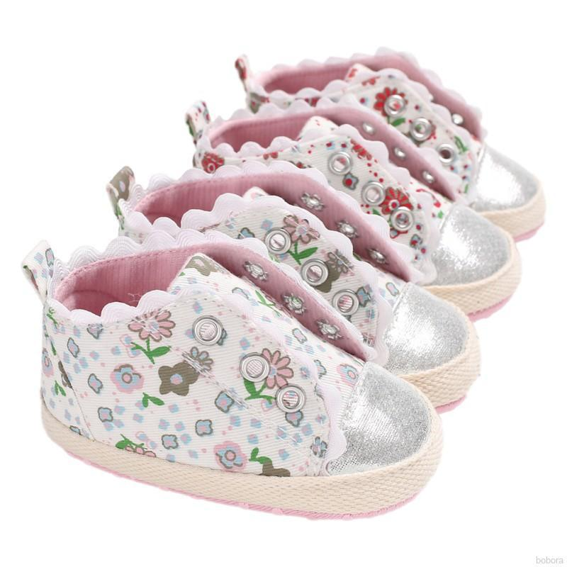 a6ed9d23b BOBORA Baby Girls Cute Shoes Soft Sole Anti-slip Floral Pattern Crib Shoes  | Shopee Malaysia