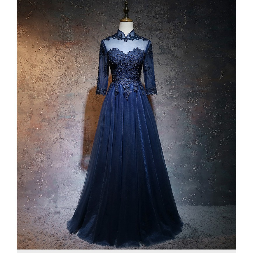 S 2xl Muslimah Navy Blue Puffy Long Sleeve Wedding Dinner Maxi Prom Dress Gown 8 Shopee Malaysia,Garden Wedding Mother Of The Groom Dresses For Summer Outdoor Wedding