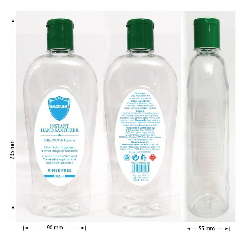 Maxkline 90ml / 500ml Instant Hand Sanitizer Anti Bac Sanitiser Antibacterial Virus Germs Bacteria