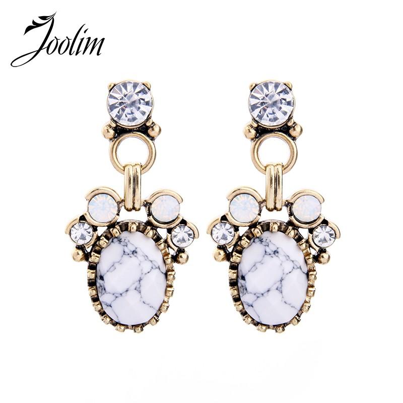 36d2b93780201 JOOLIM Elegant White Marble Dangle Earring Fashion Women Accessories