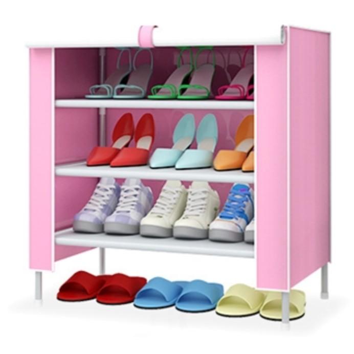 🔥M'SIA STOCK] IV 4 tier canvas shoe rack- Rak Kasut 4 Tingkat