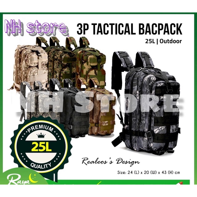 25L Tactical Men Backpack Hiking Military Bag Outdoor <NH Store