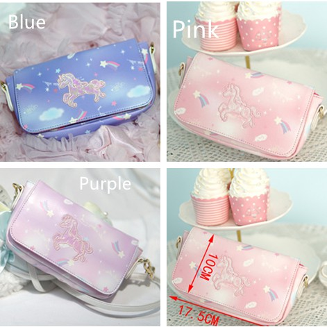 0b406a72aecd9b Cute Unicorn Shoulder Bag Fashion Crossbody Bag Cartoon Patterned Clutch Bag  | Shopee Malaysia