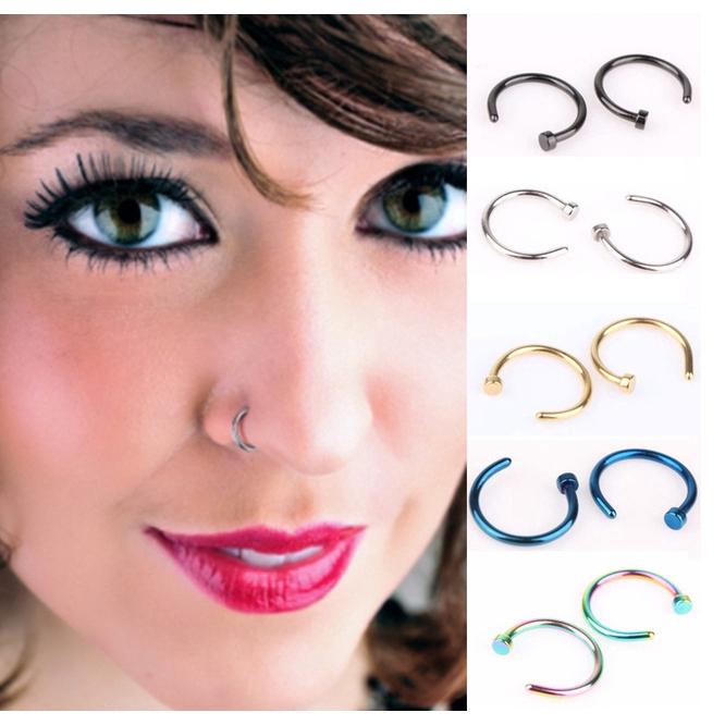 Titanium Steel Nose Ring C Rod Nose Nail Hypoallergenic Puncture