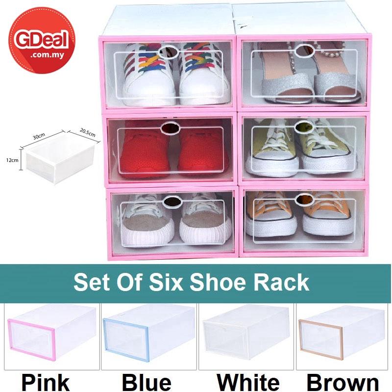 GDeal Set Of 6 PP Transparent Plastic Storage Box Foldable Clear Plastic Shoe Racks Organizer (20.5cm x 12cm x 30cm)