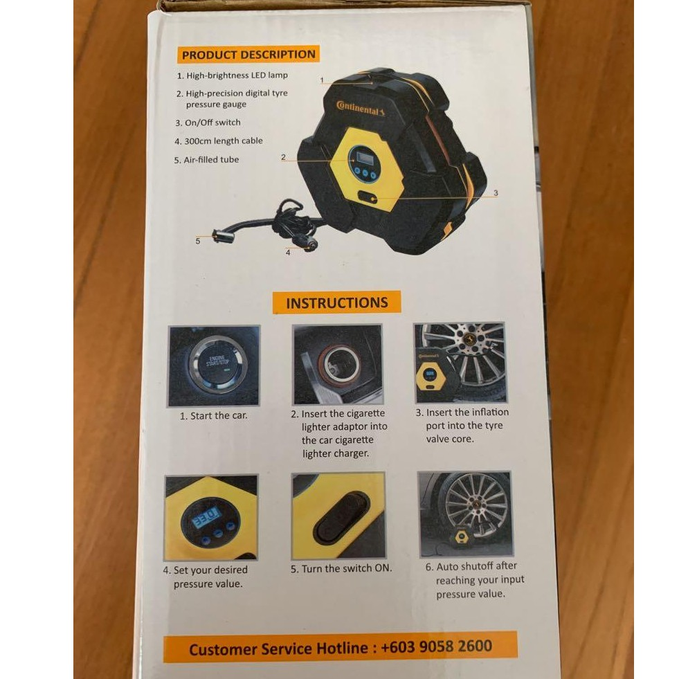 🔥✔STOCK🔥CONTINENTAL🔥LIMITED EDITION 12V DC DIGITIAL TYRE AIR COMPRESSOR INFLATOR WITH REPAIR KIT GERMAN TECHNOLOGY EDISI