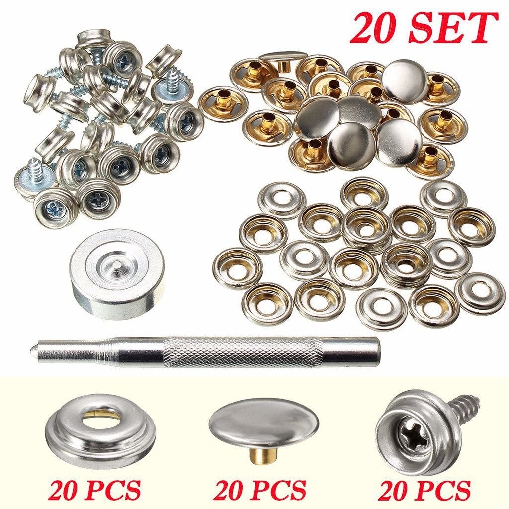 20Pcs Stainless Steel Snap Button Screw Studs Canvas Tent Boat Covers Nail 20mm