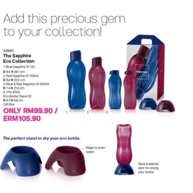 [LIMITED EDITION] Tupperware Sapphire Eco Bottle Collection