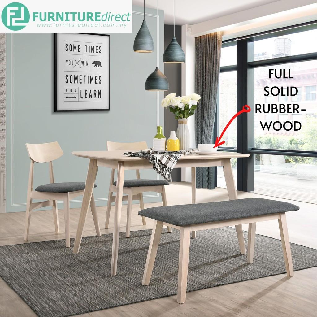 BOSCO 1+2+Bench DINING Set Solid Wood Cushion Seat Furniture Home / Restaurant - Set Meja Makan