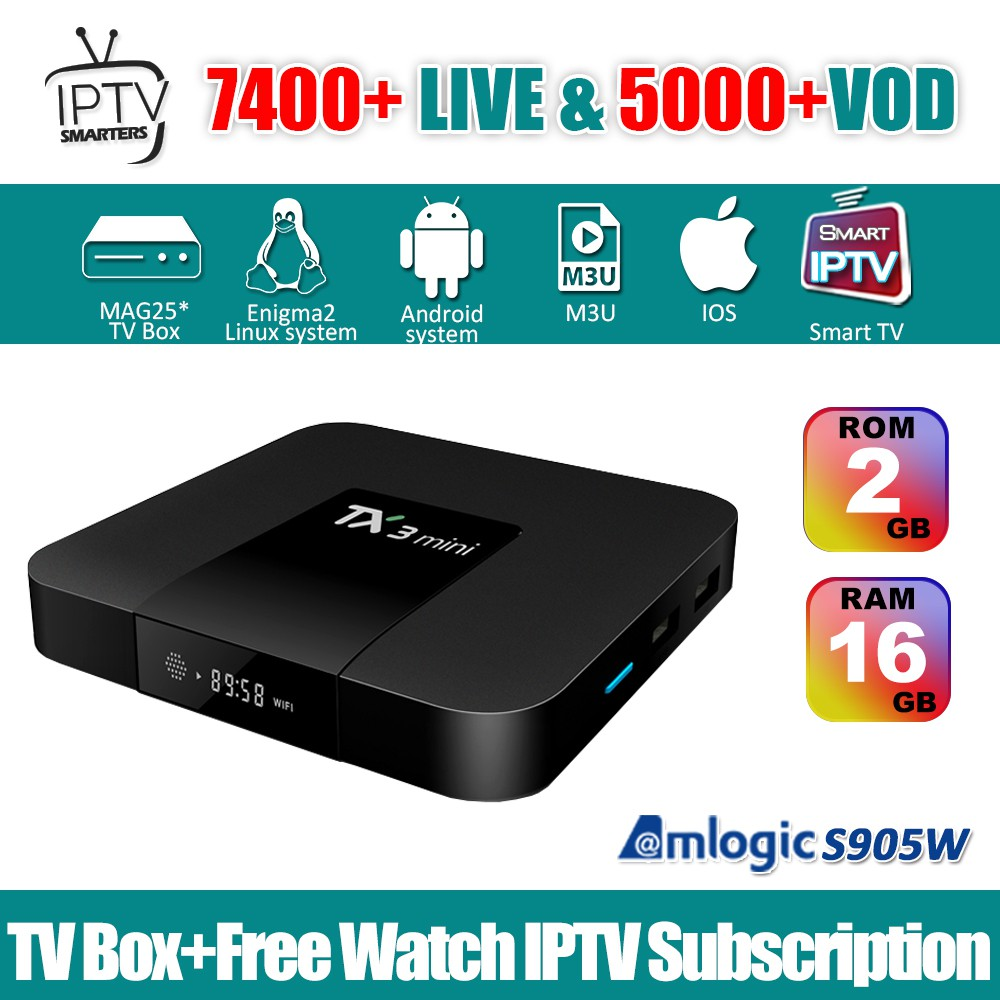 TX3 Mini TV Box Android 7 1 Amlogic 2GB 16GB & 1 Year IPTV Smarters  Subscription Astro Sports Live + VOD
