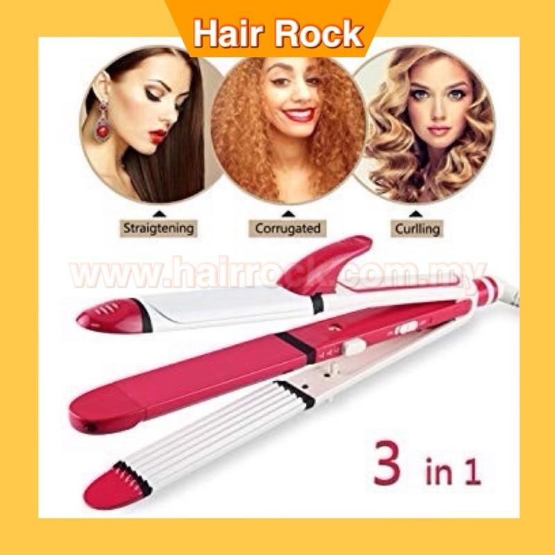 3-in-1 Ceramic Hair Curling Iron/Hair Straighteners/Crimper Hair Styler Tools Flat Iron