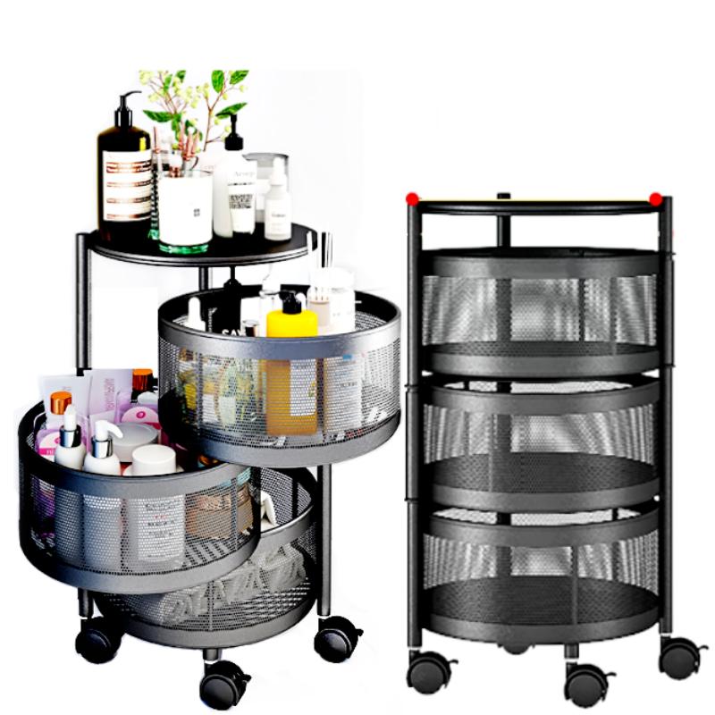 Foldable Tier Layer Spinning Storage Rack Kitchen Living Trolley Shelf Bathroom Toilet Organizer Cart with Wheel / Rak