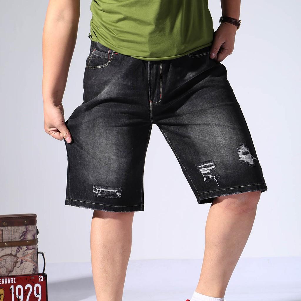 big sale innovative design fashion styles HOT PLus Size Men Black Ripped Jeans Shorts Holes Fashion Wear Summer 2018