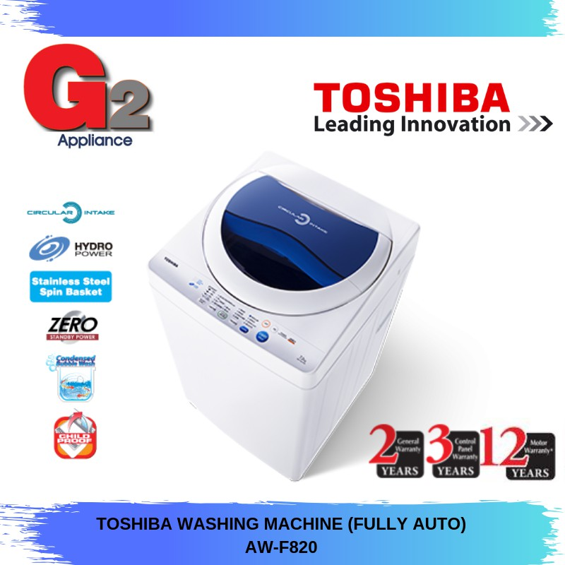 TOSHIBA WASHING MACHINE (FULLY AUTO) AW-F820 READY STOCK