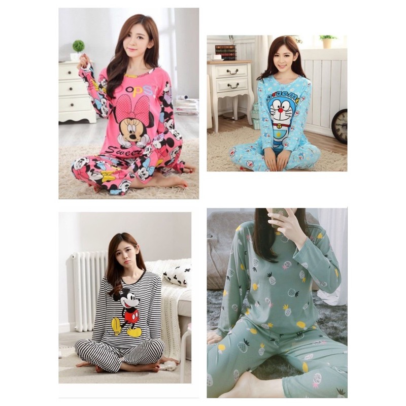 [READY STOCK] WOMEN LONG SLEEVE & LONG TROUSER SLEEPWEAR PYJAMAS WITH PRINTED DESIGN -FREE SIZE(M-L SIZE CUTTING)