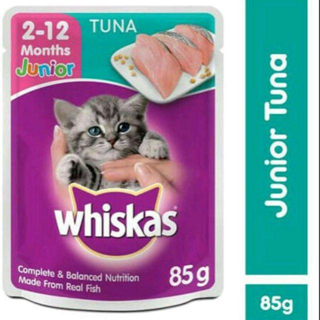 Whiskas Junior 2 12 Month Tuna Flavor Cat Food Makanan Ikan Tuna