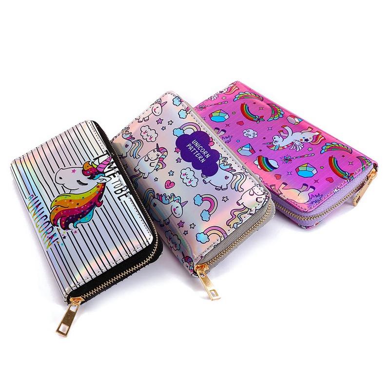 Cute Unicorn Women Leather Zipper Wallet Large Capacity