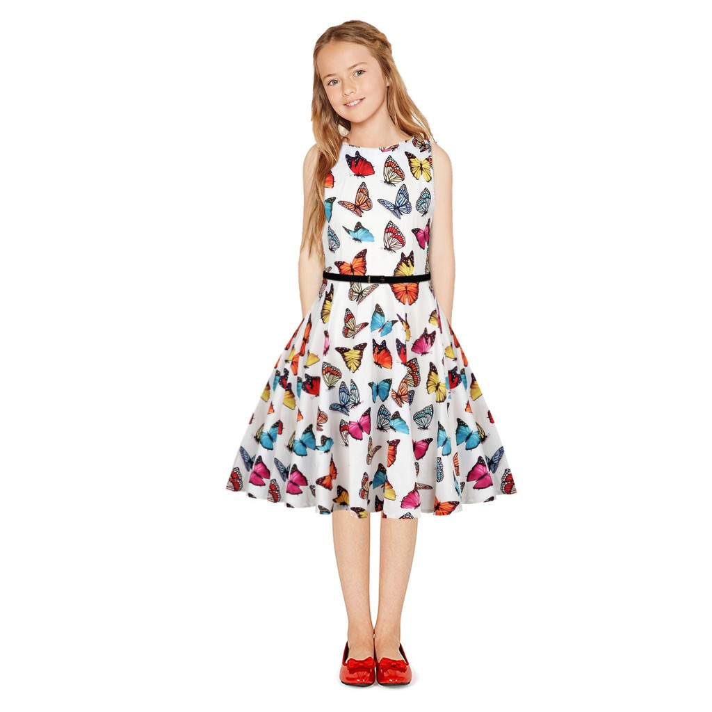 Sleevesless Butterfly Printed Dress With Belt