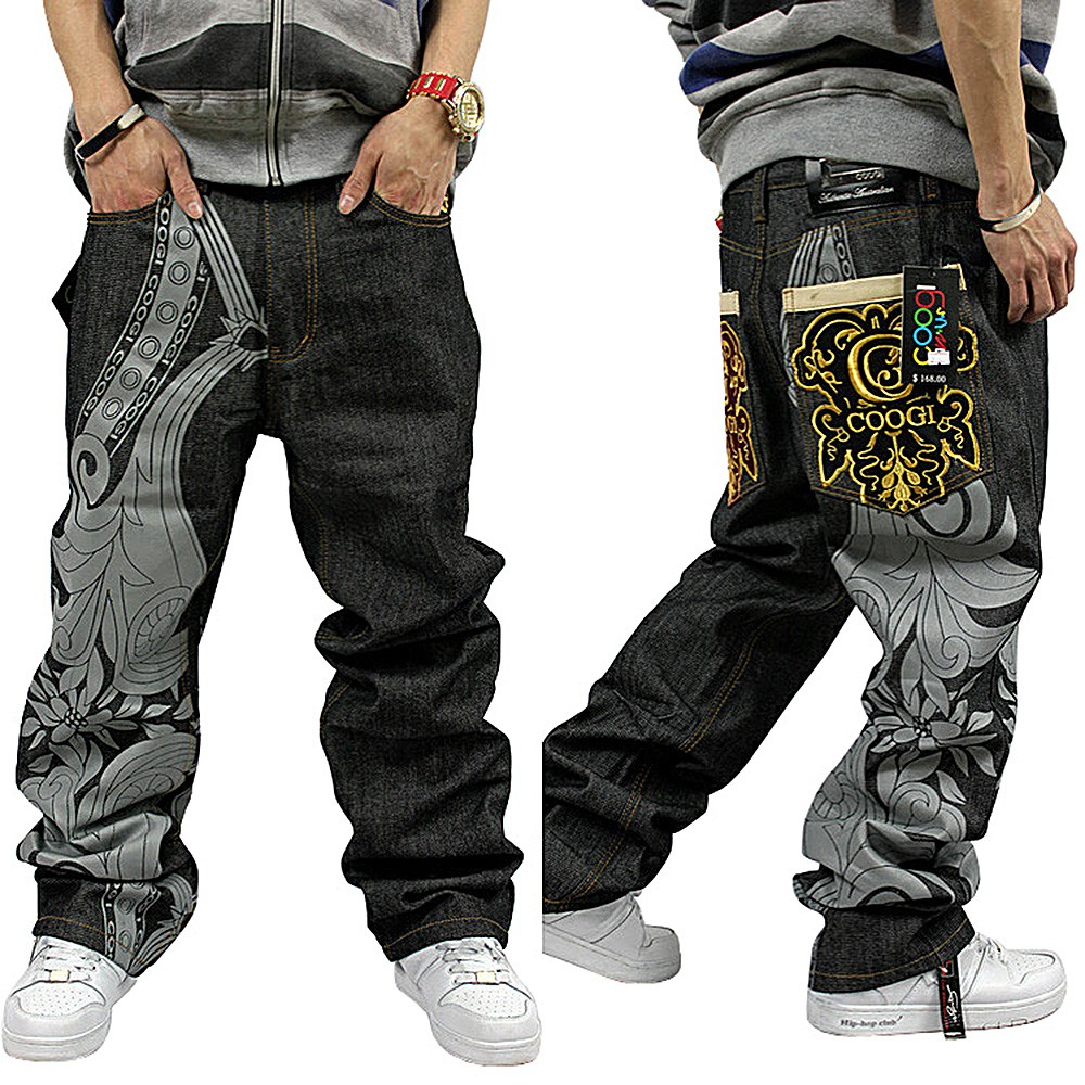 New Men Hip Hop Ecko Unltd Skateboard Casual Embroidery Jeans Graffiti Pants