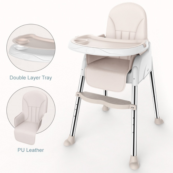 PU Leather Adjustable Baby Chair High Chair Dining Chair Booster Seat Cushion
