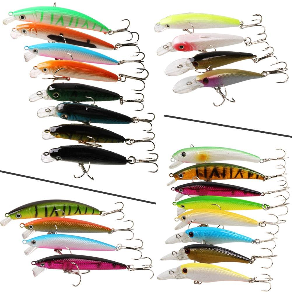 Sougayilang 1/24pcs/set Mix Color Weight Shape Hard Minnow CrankBaits  Fishing Lure With Treble Hooks Fishing Lure