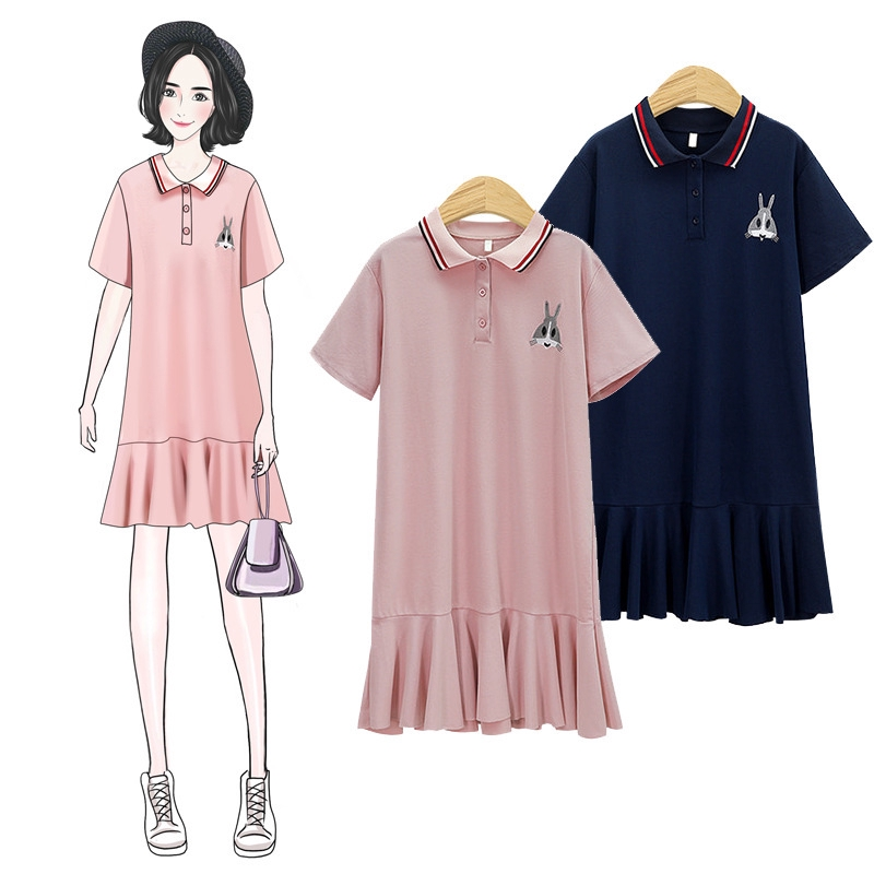 beautiful design best customers first 2-color women's Plus Size POLO collar embroidered T-shirt dress
