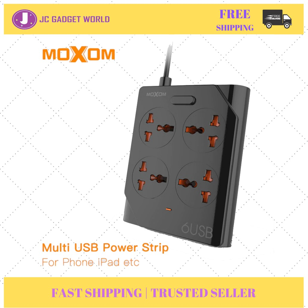 Moxom KH-63 Power Strip 4 Universal Socket with 6 USB 3.4A Fast Charging Output 1.5m UK Plug Sirim Approved (Black)