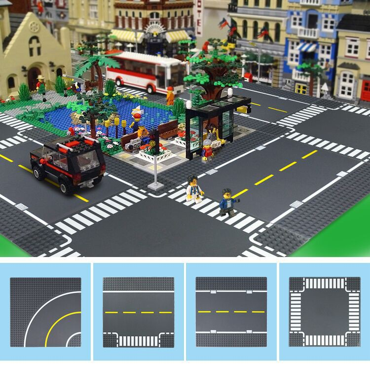 Lego Base Plate Building Board 32 x 32 Studs Green T Junction With Crossings