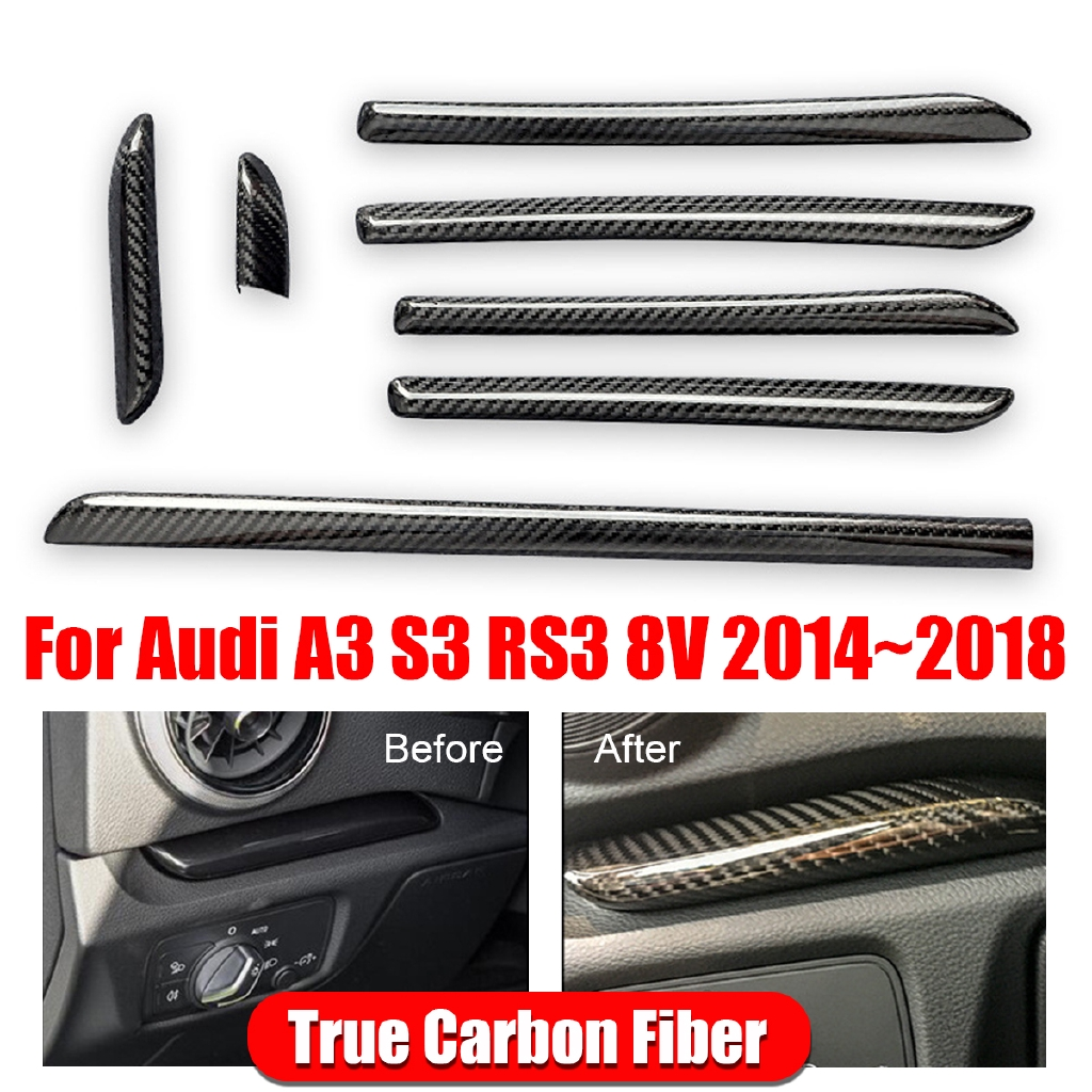 Carbon Fiber Interior Console Door Panel Strips Cover Trim For Audi A3 S3 Rs3 8v Shopee Malaysia