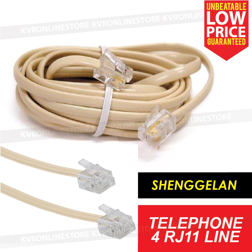 Rj11 6p2c 2 Core Telephone Line Cord Cable Wire For Modem Phone Fax Data Jack Wiring 15meter Shopee Malaysia