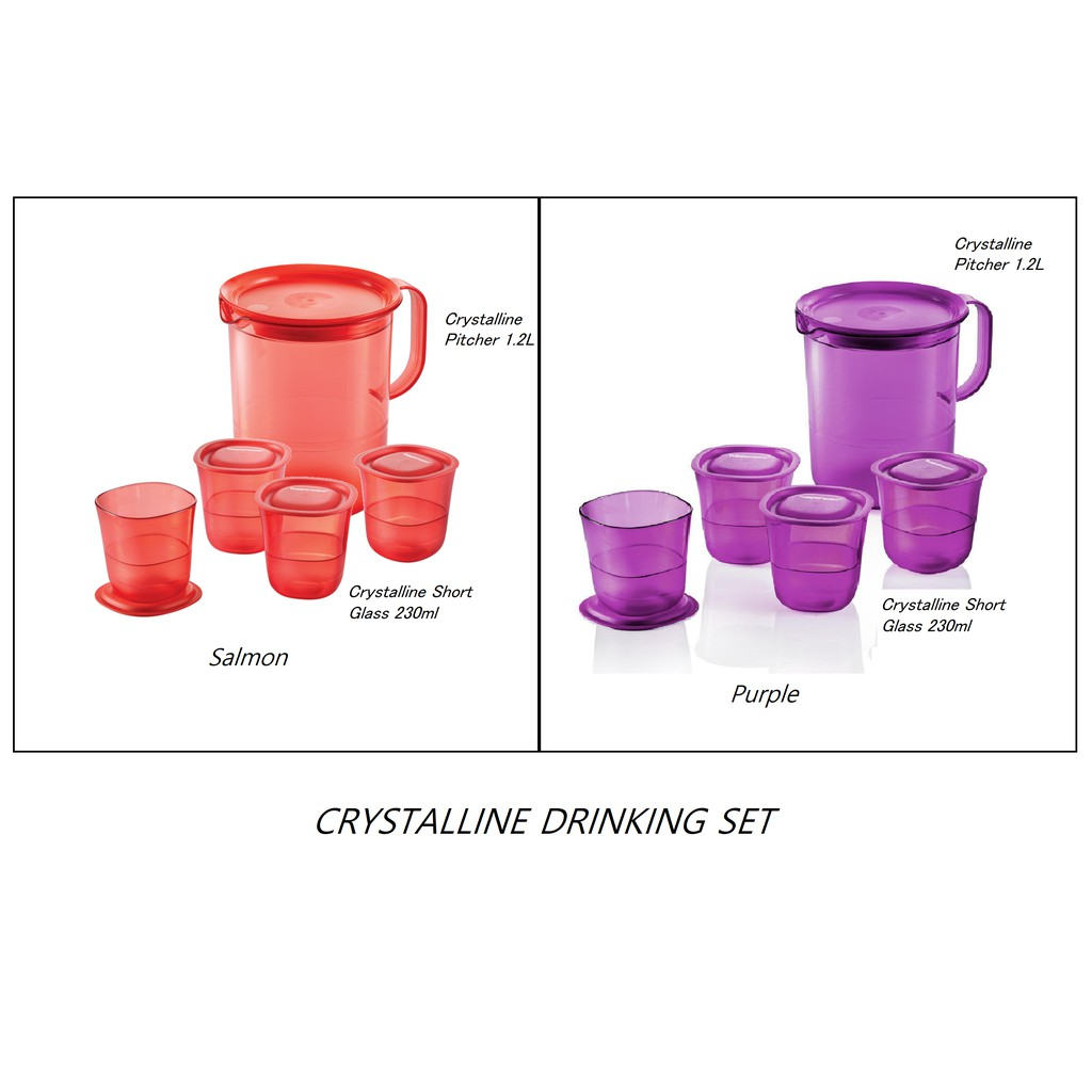 Tupperware Tableware Crystalline Pitcher and Short Glass