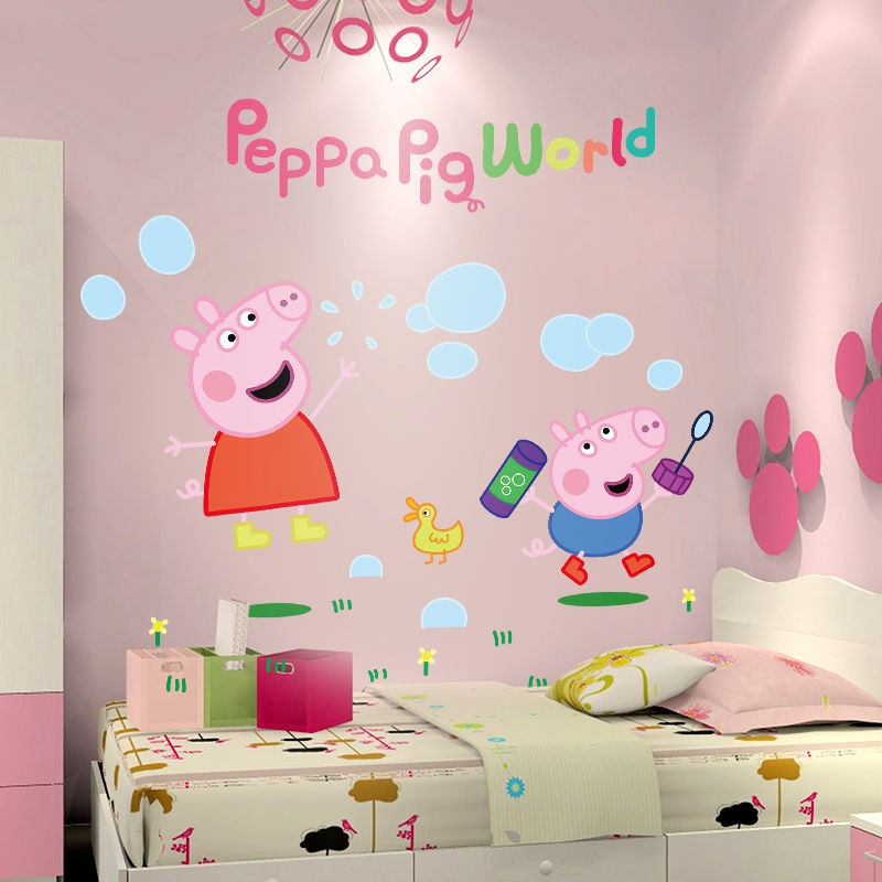 Cartoon Wall Stickers Decoration Pig Page One Children Room Bedroom Wallpaper Web Celebrity Adhesive Paintings Shopee Malaysia