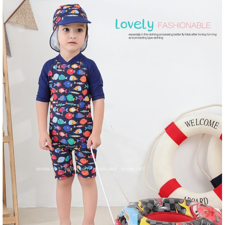 9a5e9ece42 Sunscreen one-piece boy swimsuit cartoon whale outdoor beach spa swimwear |  Shopee Malaysia
