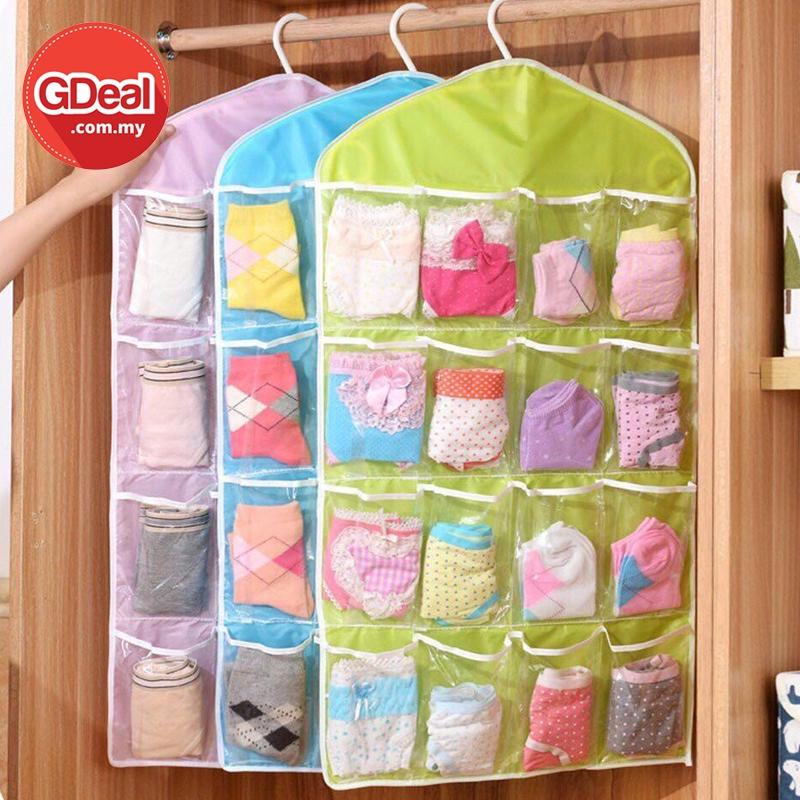 GDeal 16 Slots Hanging Bag For Wardrobe Socks Underwear Storage Beg Simpanan Pakaian Dalam بيڬ سيمڤنن ڤاكاين دالم