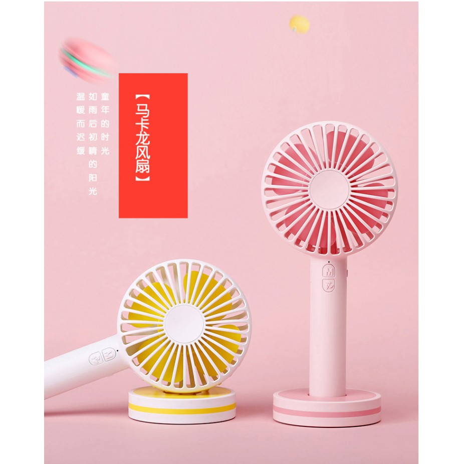 USB Mini Portable and Rechargeable Macaron Handy Fan with Mirror for Travel